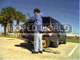 [Item# 013-70-1002 Tilt-n-Load™ Moped/Scooter Carrier Custom Built for the Derbi Predator LC (Highest Quality - Made in USA)]